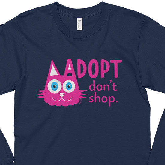 """Adopt, Don't Shop."" (cat ear) Unisex Long Sleeve T-Shirt"