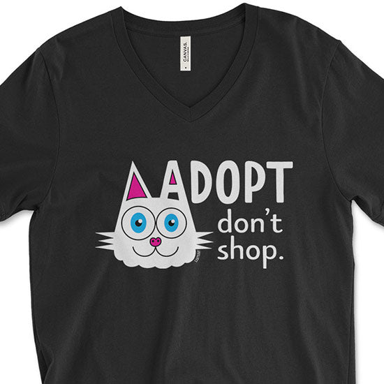 """Adopt, Don't Shop."" (cat ear) Unisex V-Neck T-Shirt"