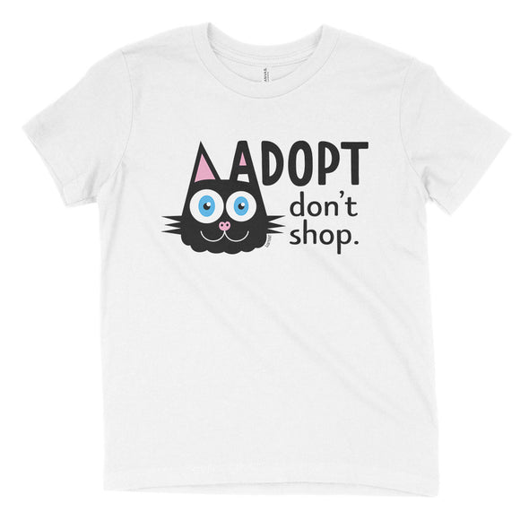 """Adopt, Don't Shop."" (cat ear) Kids Youth T-Shirt"