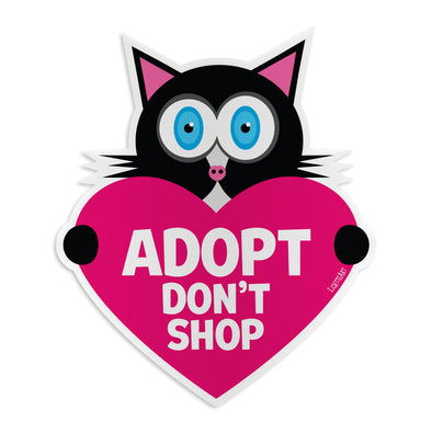 """Adopt, Don't Shop"" Cat with Heart Vinyl Bumper Sticker"