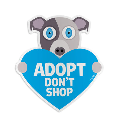 """Adopt, Don't Shop"" Dog with Heart Vinyl Bumper Sticker"