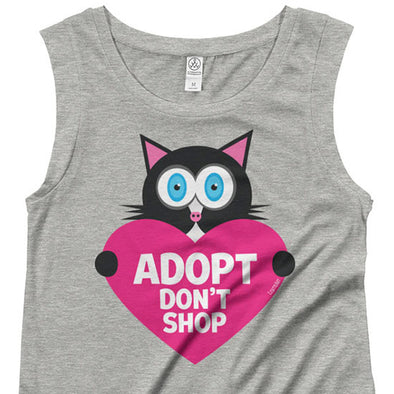 """Adopt, Don't Shop."" (cat with heart) Cap Sleeve Shirt"