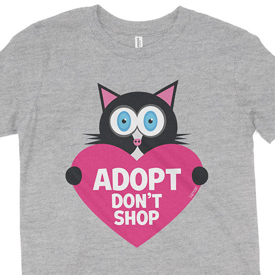 """Adopt, Don't Shop."" (cat with heart) Kids Youth T-Shirt"