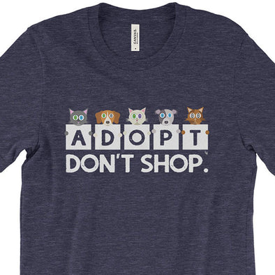 """Adopt, Don't Shop."" Unisex Cat and Dog T-Shirt"