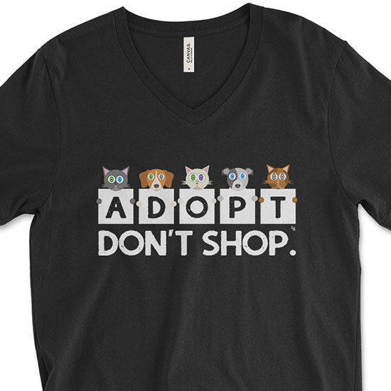 """Adopt, Don't Shop."" Unisex V-Neck Cats & Dogs T-Shirt"