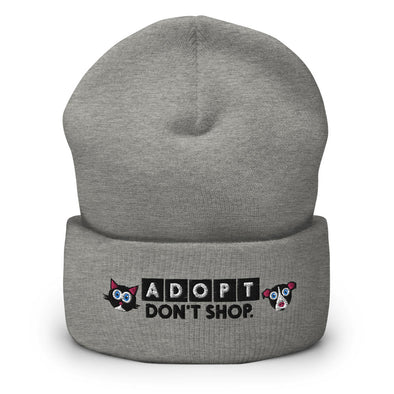 """Adopt, Don't Shop."" Cuffed Beanie Cat and Dog Hat"