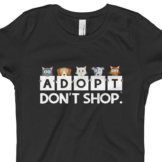 """Adopt, Don't Shop."" Girls Fitted Cat and Dog T-Shirt"