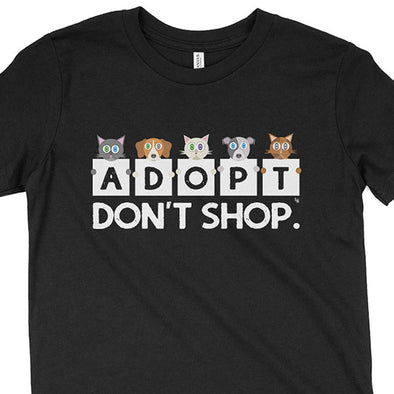 """Adopt, Don't Shop."" Kids Youth Cats and Dogs T-Shirt"