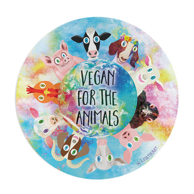 """Vegan for the Animals"" Vinyl Bumper Sticker"