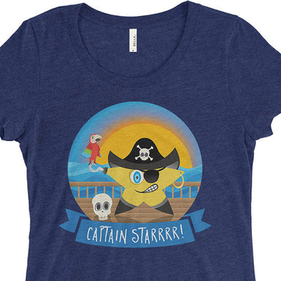 """Captain Starrr!"" Junior Fitted Funny Pirate T-Shirt"