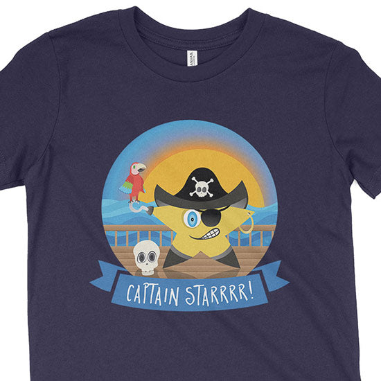 """Captain Starrr!"" Funny Pirate Kids Youth T-Shirt"