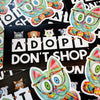 """Adopt, Don't Shop."" Cat and Dog Vinyl Bumper Sticker"