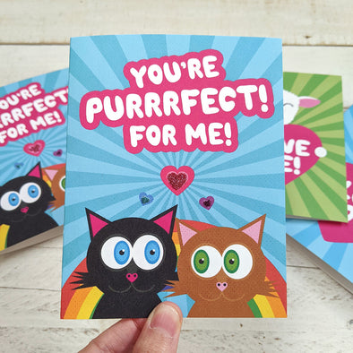 """You're Purrrfect For Me!"" Cat Love Valentine's Day Card, Recycled Anniversary Card"