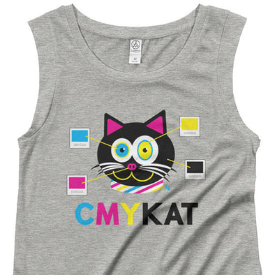 """CMYKat"" Cap Sleeve Cat Shirt"