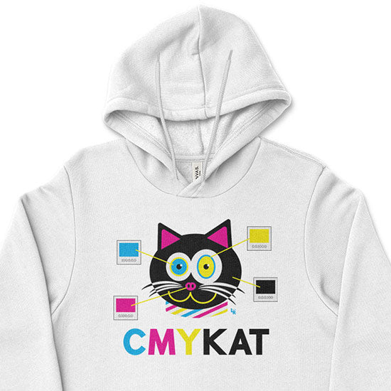 """CMYKat"" Unisex Lightweight Fleece Cat Hoodie Sweatshirt"