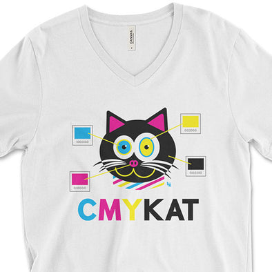 """CMYKat"" Unisex V-Neck Cat T-Shirt"