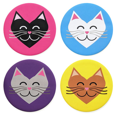 """I 💜 Love 💜 Cats"" Colorful Heart Cats Coaster Set"