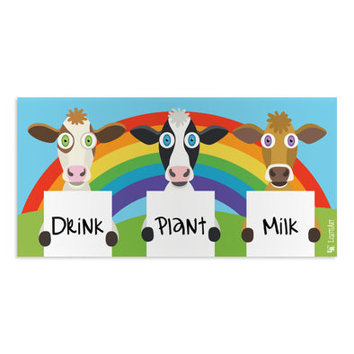 """Drink Plant Milk"" Vegan Cows Vinyl Bumper Sticker"