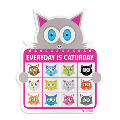 """Everyday is Caturday"" Cat Vinyl Sticker"