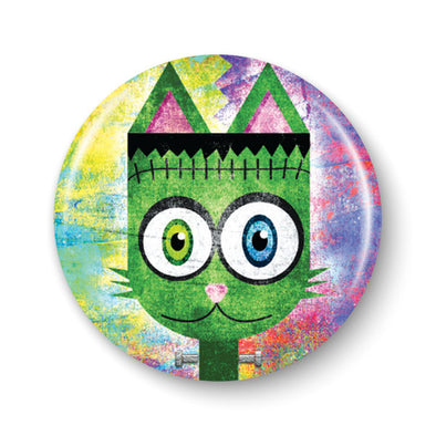 """Frankenkitty"" 1.25"" Round Frankenstein Monster Cat Pinback Button"