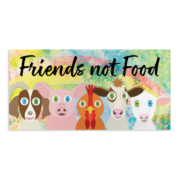 """Friends Not Food"" Cute Animals Vegan Vinyl Bumper Sticker"