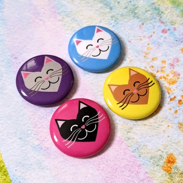 """I 💜 Love 💜 Cats""  1"" Round Pinback Button 4 Pack"