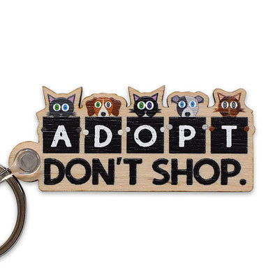 """Adopt, Don't Shop."" Printed Wood Cats and Dogs Keychain"