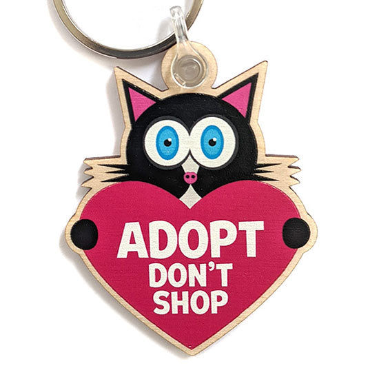 """Adopt, Don't Shop."" (cat with heart) Printed Wood Black Cat Keychain"