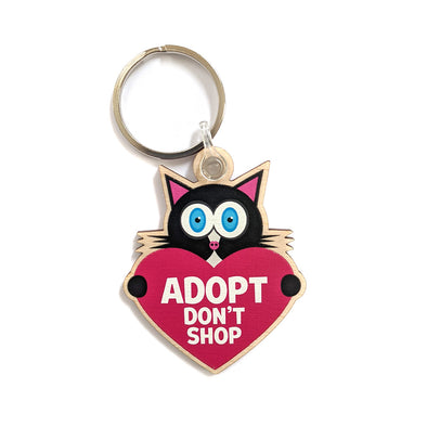 """Adopt, Don't Shop."" (cat with heart) Printed Wooden Black Cat Keychain"
