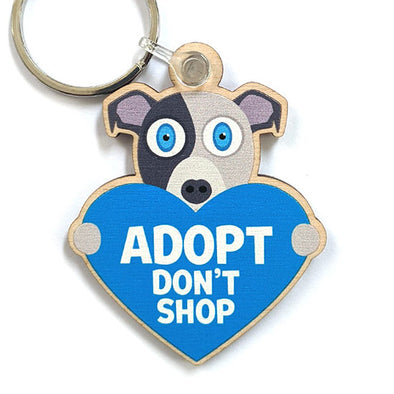 """Adopt, Don't Shop."" (dog with heart) Printed Wood Pitbull Keychain"