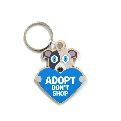"""Adopt, Don't Shop."" (dog with heart) Printed Wooden Pitbull Keychain"