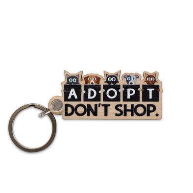 """Adopt, Don't Shop."" Printed Wooden Cats and Dogs Keychain"