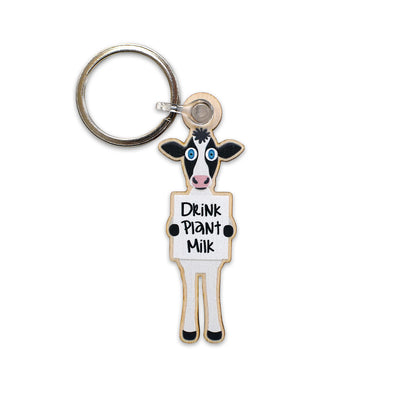 """Drink Plant Milk"" Printed Wooden Vegan Cow Keychain"