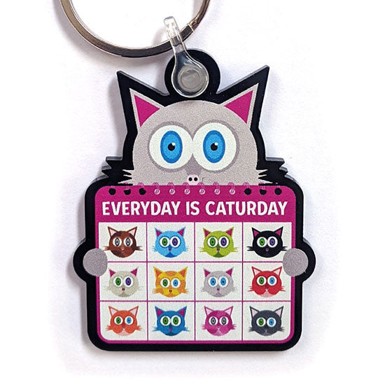 """Everyday is Caturday"" Printed Recycled Acrylic Cat Keychain"