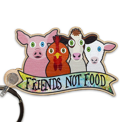 """Friends Not Food"" Printed Wood Vegan Animals Keychain"