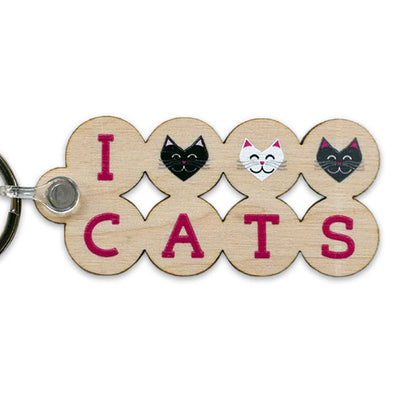 """I 💜 Love 💜 Cats"" Printed Wood Keychain"