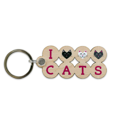 """I 💜 Love 💜 Cats"" Printed Wooden Keychain"