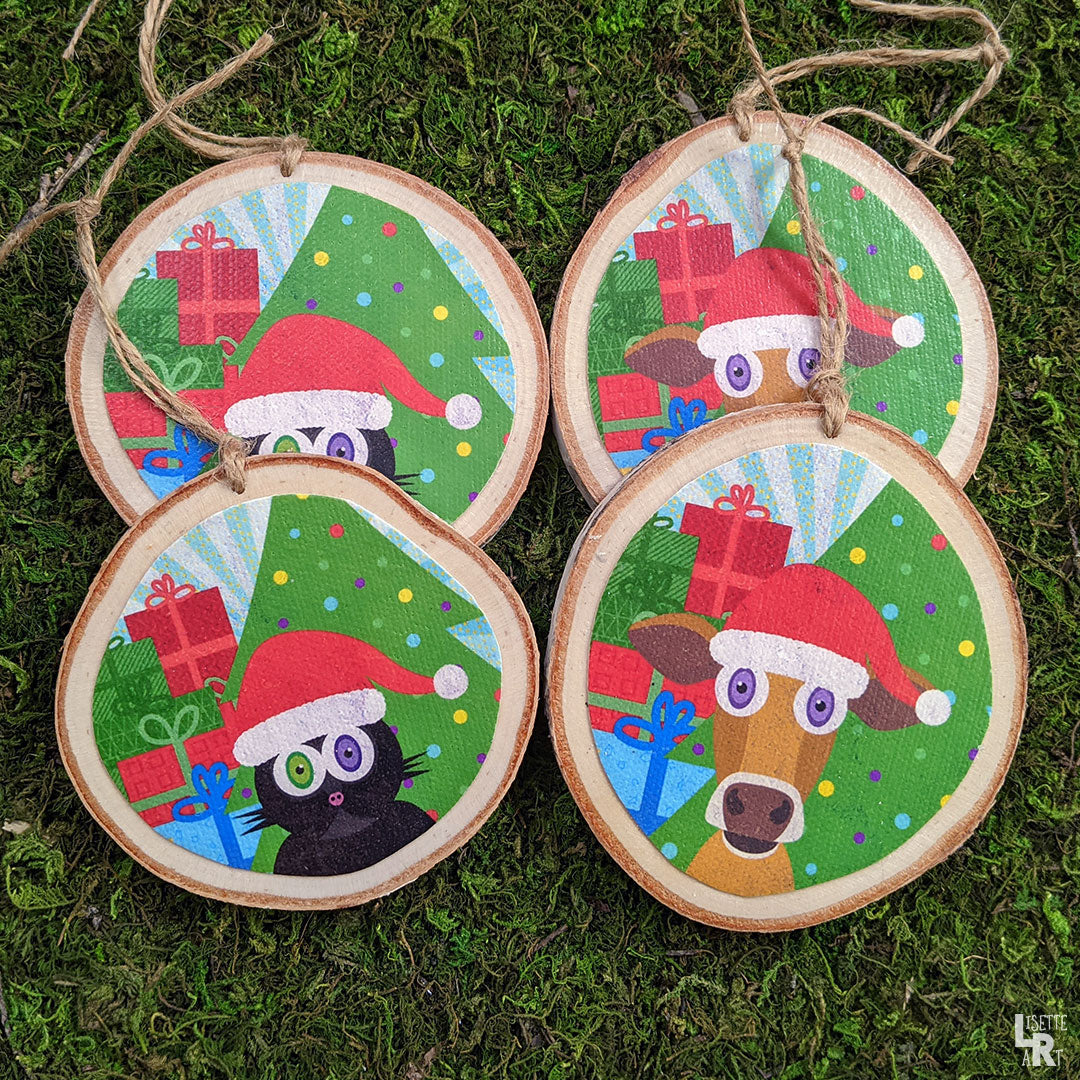 Moowy Cowmas Whimsical Wood Cow Ornament Vegan Holiday Ornaments Lisetteart Shop
