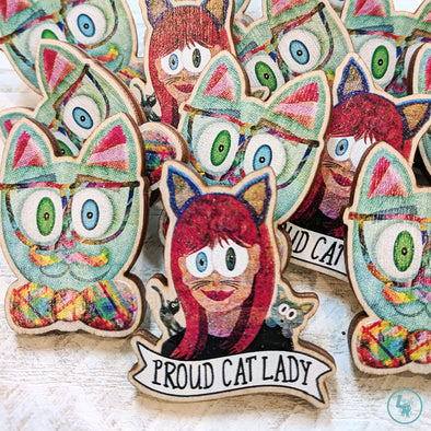 """Proud Cat Lady"" Printed Wood Pin"
