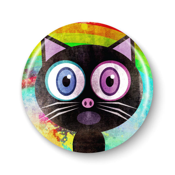 """Somemeow Over the Rainbow"" Singing Black Cat 1.25"" Round Pinback Button"