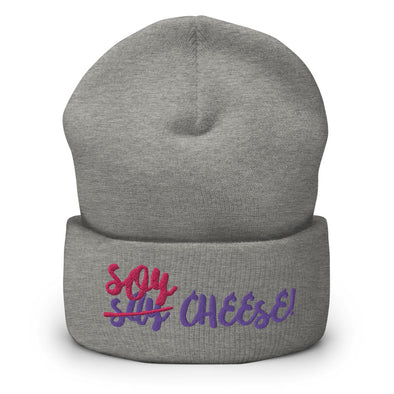 """Soy Cheese"" Vegan Cuffed Beanie Hat"