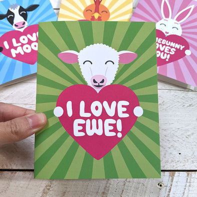 """I Love Ewe!"" Sheep Valentine's Day Card, Recycled Anniversary Card"