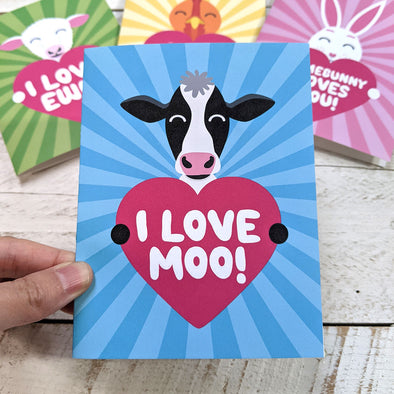 """I Love Moo!"" Cow Valentine's Day Card, Recycled Anniversary Card"