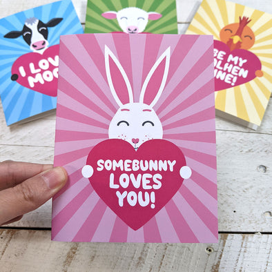 """Somebunny Loves You!"" Bunny Rabbit Valentine's Day Card, Recycled Anniversary Card"