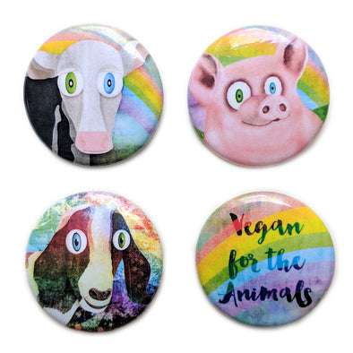 """Vegan for the Animals"" Special Collection 1.25"" Round Pinback Button 4 Pack"