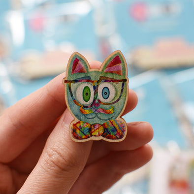 """Intellecat"" Printed Wood Cat Pin"