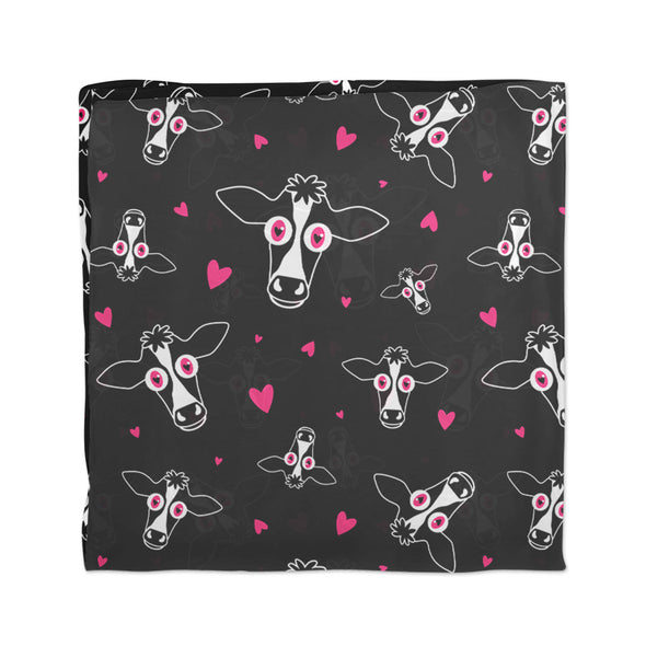 """Live with Cowpassion"" Vegan Cow and Hearts Scarf"