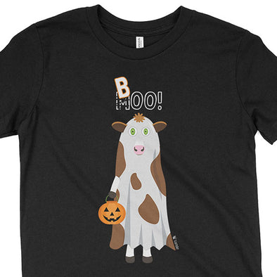 """Trick or Treat"" MOO BOO Cow in Ghost Costume Halloween Youth T-Shirt"