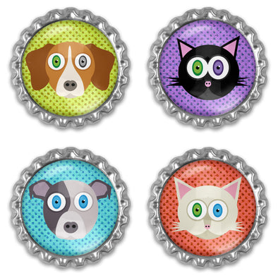 """Adopt, Don't Shop"" Bottlecap Heavyweight Magnet Set - Cats & Dogs Magnets"