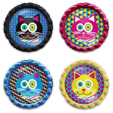 """CMYKat"" Bottlecap Heavyweight Magnet Set - Funky Kitty Cat Magnets"